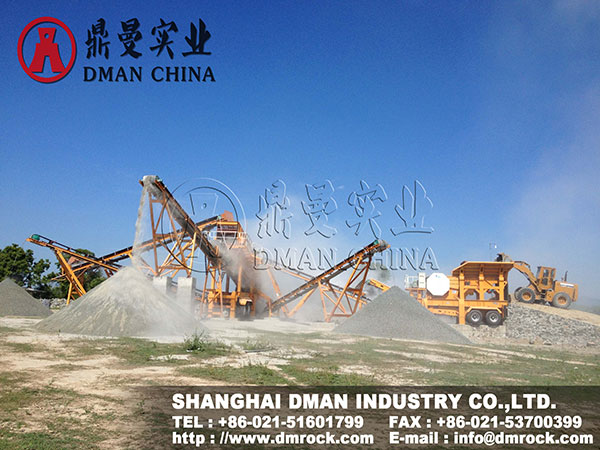DMAN 100t Mobile Jaw Crushing Plant Working Site